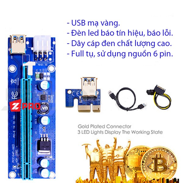 Dây Riser PCI Express 1X to 16X USB 3.0 Ver 009s