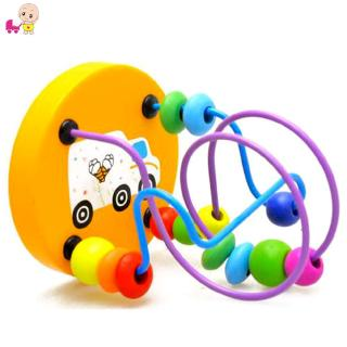 ❦Ready Stock❦☞ Children Baby Colorful Wooden Mini Around Beads Educational Toy