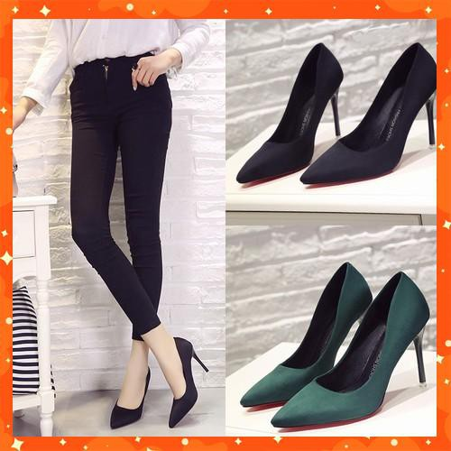 (Order sz 34-40, gót 7-10cm) Giày cao gót da lộn