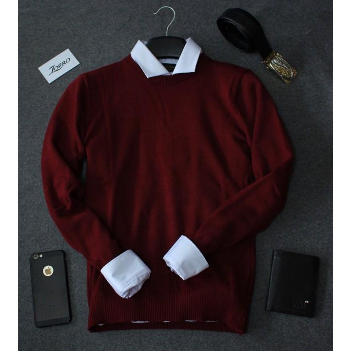 Áo Len trơn cao cấp nam màu đỏ đô