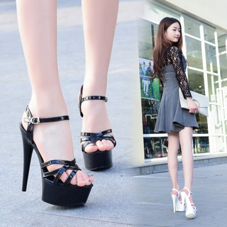 ✶▼✵Catwalk Artifact Model High Heels Stilettos Sexy Black Waterproof Platform 15cm Hengtian Super Heel Sandals Female Summer