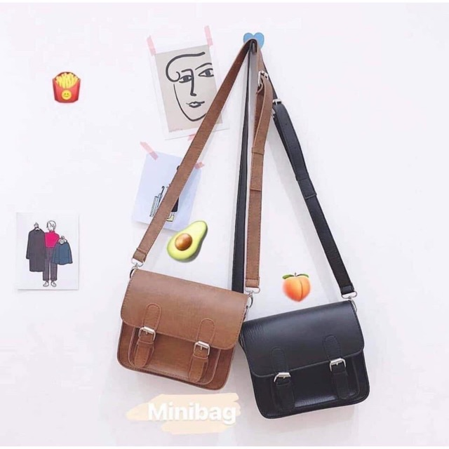 Túi minibag ulzzang sẵn 2 màu đen, nâu tây ảnh thật