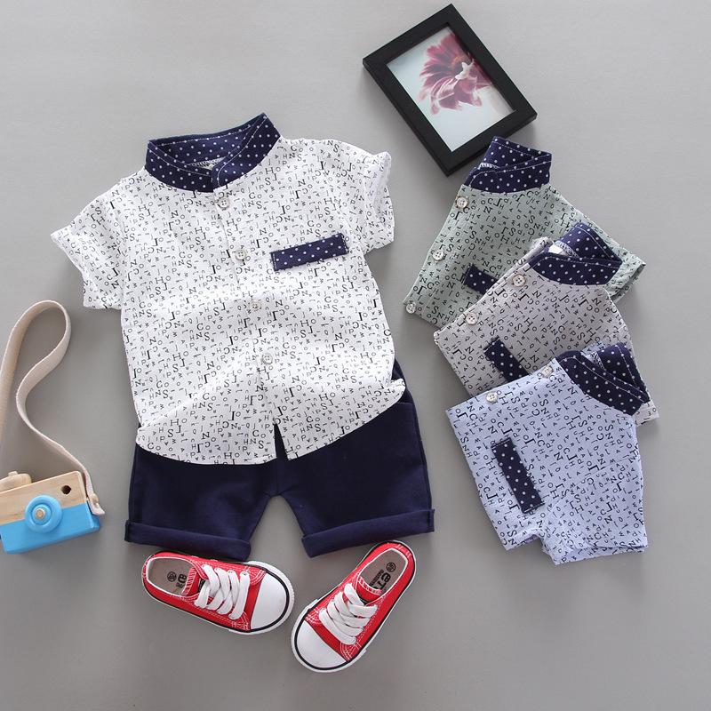 Quần áo bé trai mùa hè bé trai bảng chữ cái tiếng Anh in áo phông ngắn tay + quần đùi