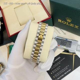 Đồng hồ nam nữ Rolex, đồng hồ máy pin mặt tròn đính đá dây kim loại cao cấp