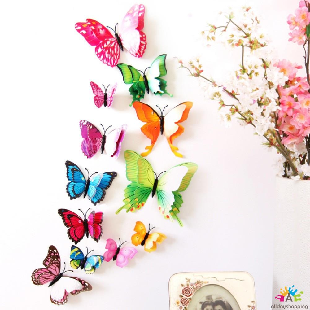 Bộ 12 bươm bướm màu sắc trang trí tủ lạnh / tường nhà