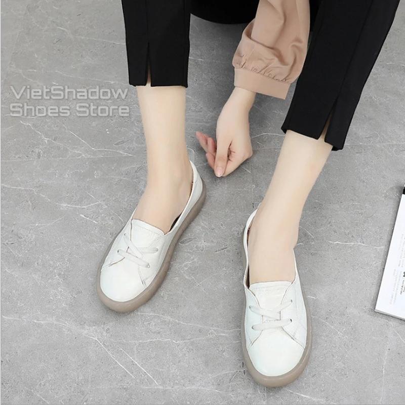 Slip on da nữ - Giày lười da nữ dáng bè - Da bò xịn, 3 màu (be), (trắng) và (đen) - Mã SP 525