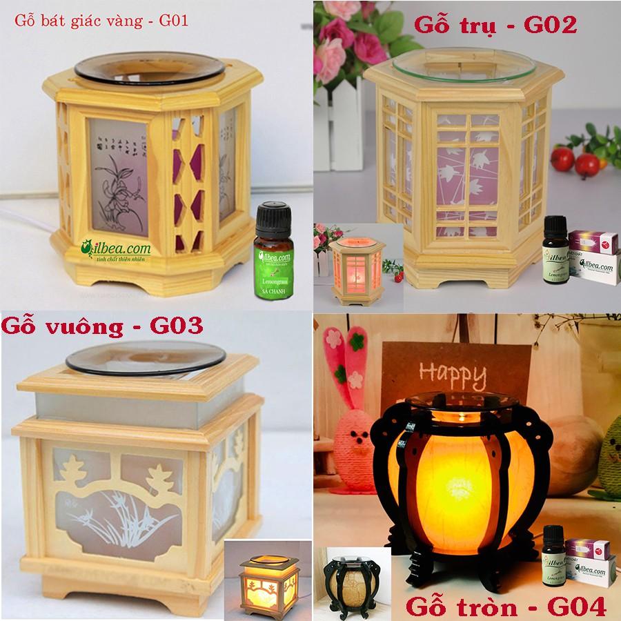 Combo đèn xông tinh dầu gỗ + tinh dầu sả chanh 10ml + bóng đèn sơ cua