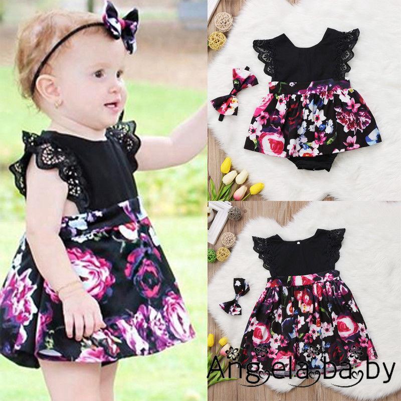 Bộ đầm/đồ liền thân dáng xòe kèm băng đô họa tiết hoa xinh xắn cho bé gái