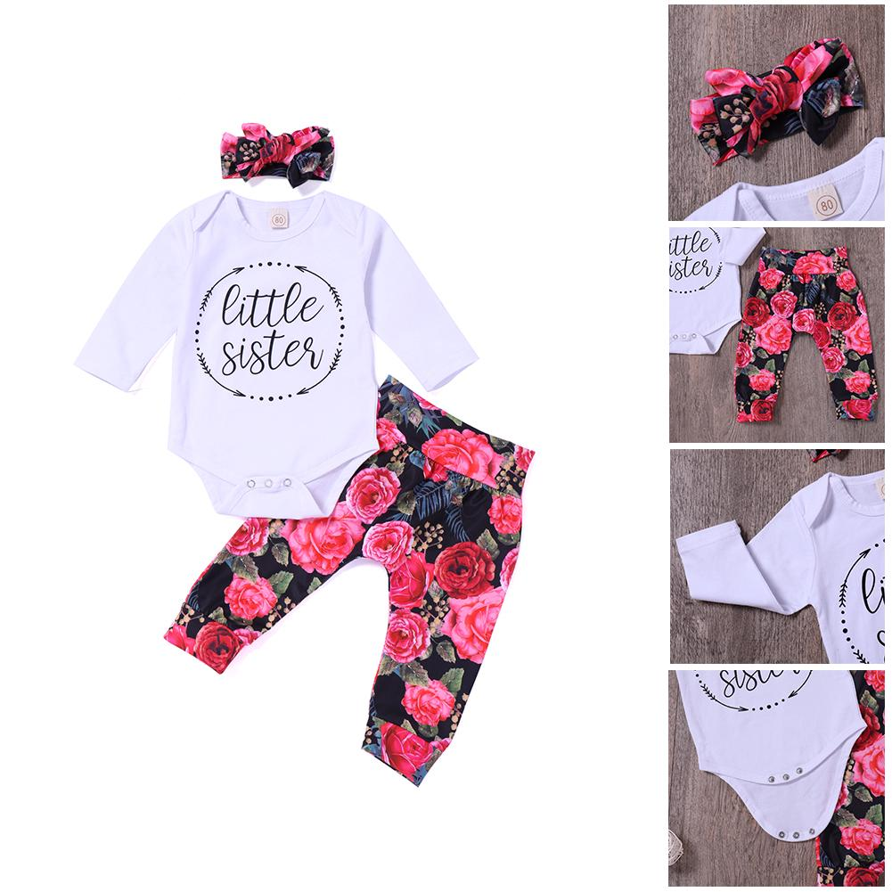a5fd8b2ec731a Baby Girl Toddlers 3pcs Set Printed Long Sleeve Romper+ Floral Pants+Bowknot  Headband Casual Outfit - Baby Girl Toddlers 3pcs Set Printed Long Sleeve  Romper ...