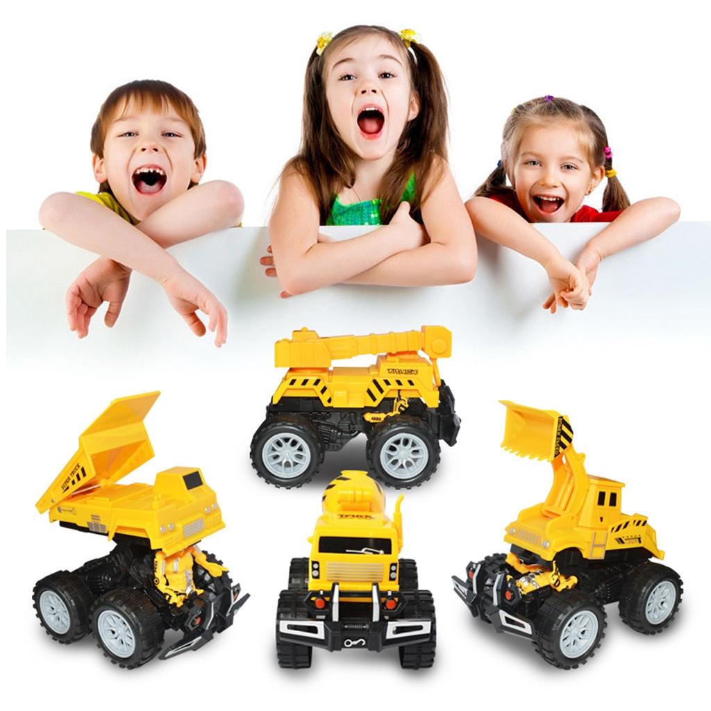 【COD】😺Engineering Vehicle Model Wheel Plastic Diecast Inertial Deformation Toy
