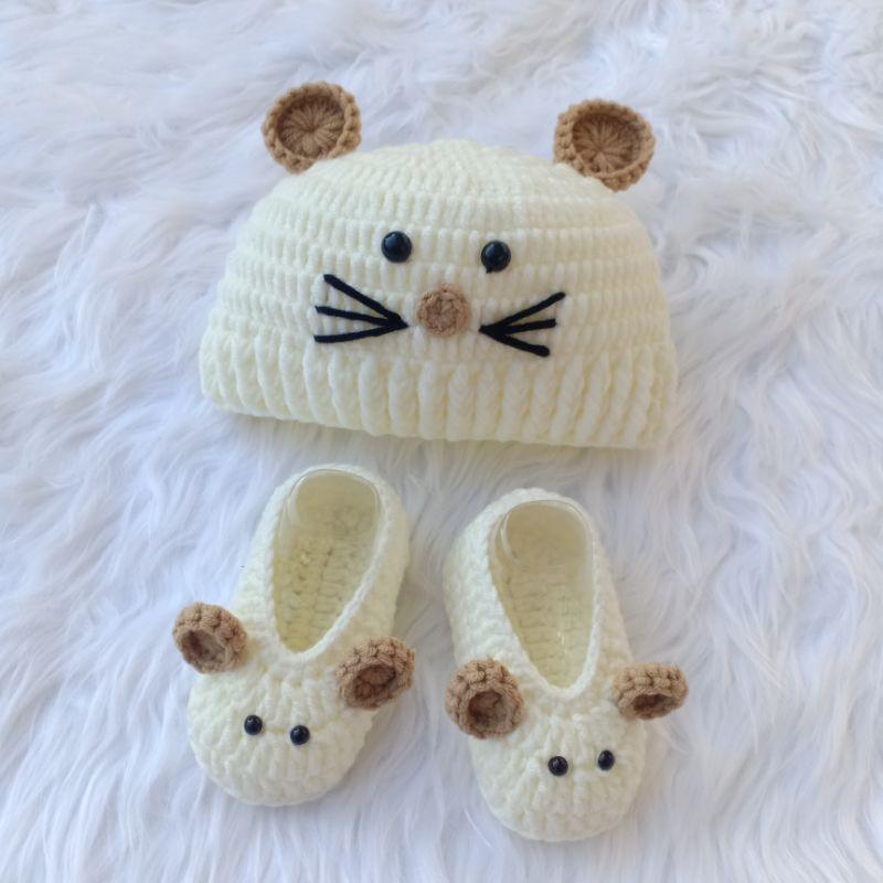 Set đồ len cho bé hình chuột (có thêu tên bé theo yêu cầu)