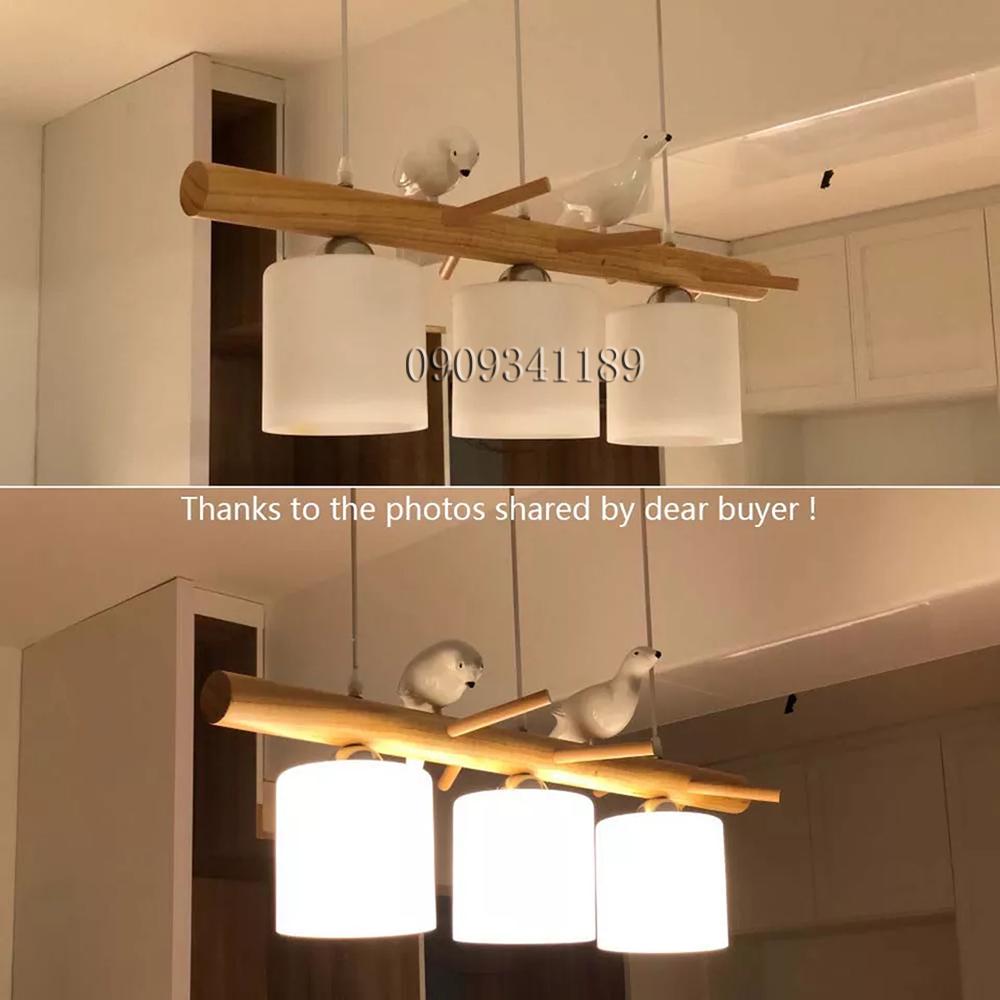 Đèn Thả Trần Trang Trí Phong Cách Bắc Âu Vintage 3 chao thân gỗ đế gỗ - TN322 - Tặng kèm 3 bóng led 3 chế độ ánh sáng