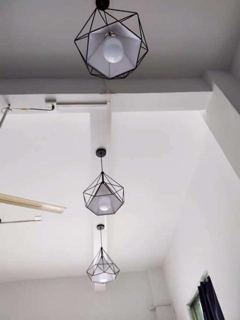 Đèn Thả Trần Bàn Ăn , Phòng Khách - Đèn Hình Kim Cương- Đã Bao Gồm Bóng