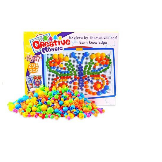 Bộ ghép hạt bằng nhựa 296 hạt cho bé