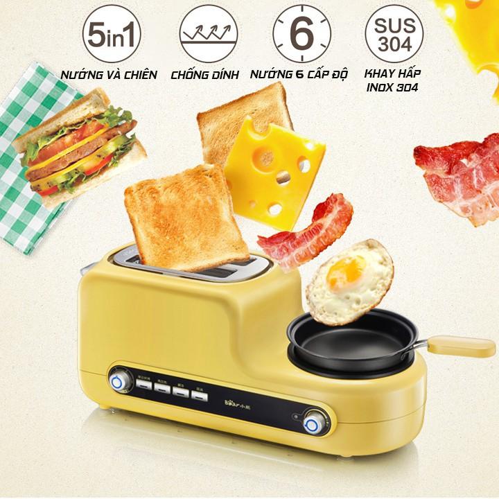 [TẶNG KÈM CHẢO] Lò nướng bear, Máy nướng bánh mì đa năng Rán Hấp Chiên làm bữa sáng và chế biến món ăn