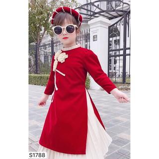 Set áo dài cách tân 3D cho bé S1788 - Đẹp Shop DVC - Kèm ảnh thật trải sàn do shop tự chụp thumbnail