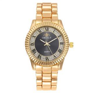 Thời trang ban nhạc thép kim cương nam nữ đôi đồng hồ kinh doanh bình thường chữ số La Mã kim cương nước đồng hồ Anh