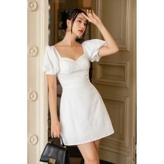 RECHIC Đầm Polly Màu Trắng dáng ngắn cổ vuông tay bồng thanh lịch trẻ trung năng động dạo phố thumbnail