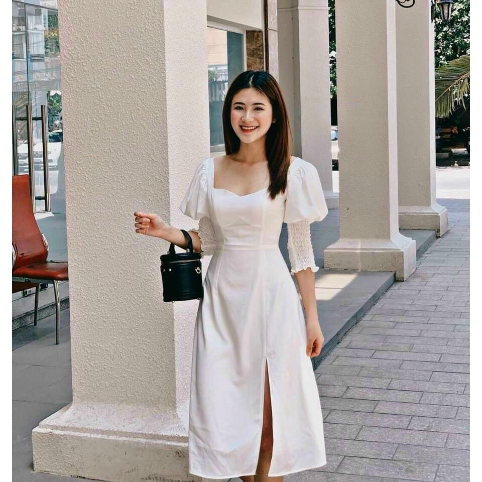 Mặc gì đẹp: Sang chảnh với Đầm váy dự tiệc xẻ tà tay phồng dễ thương dạo phố, đi học, đi chơi Zashopp