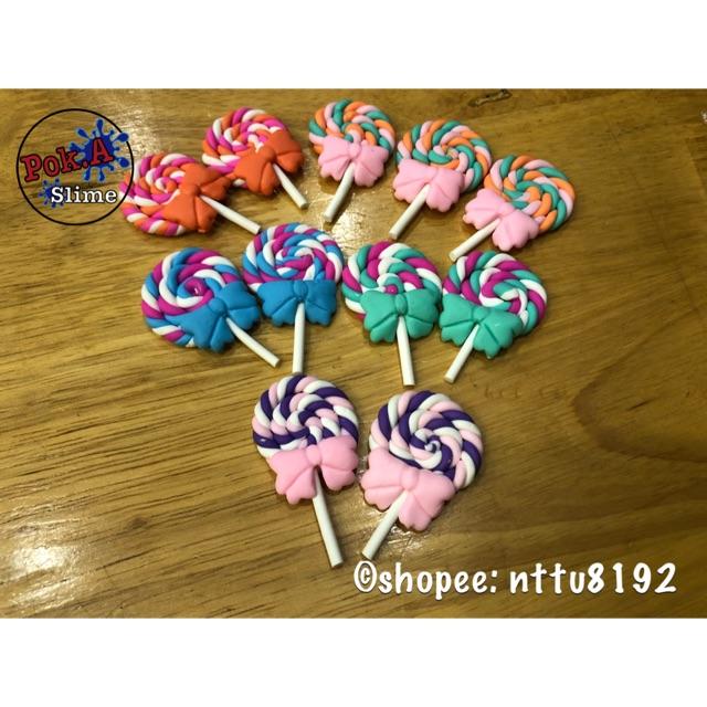 Charm lollipop que nơ (cabochon decoden)