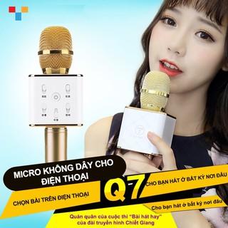 Micro karaoke tích hợp Loa Bluetooth Q7 Micro karaoke bluetooth (Vàng)