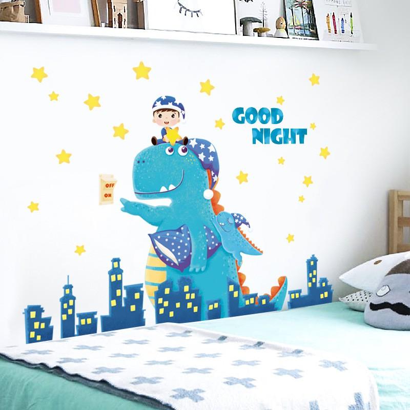 Decal dán tường hình khủng long Goodnight kích thước 92x115cm
