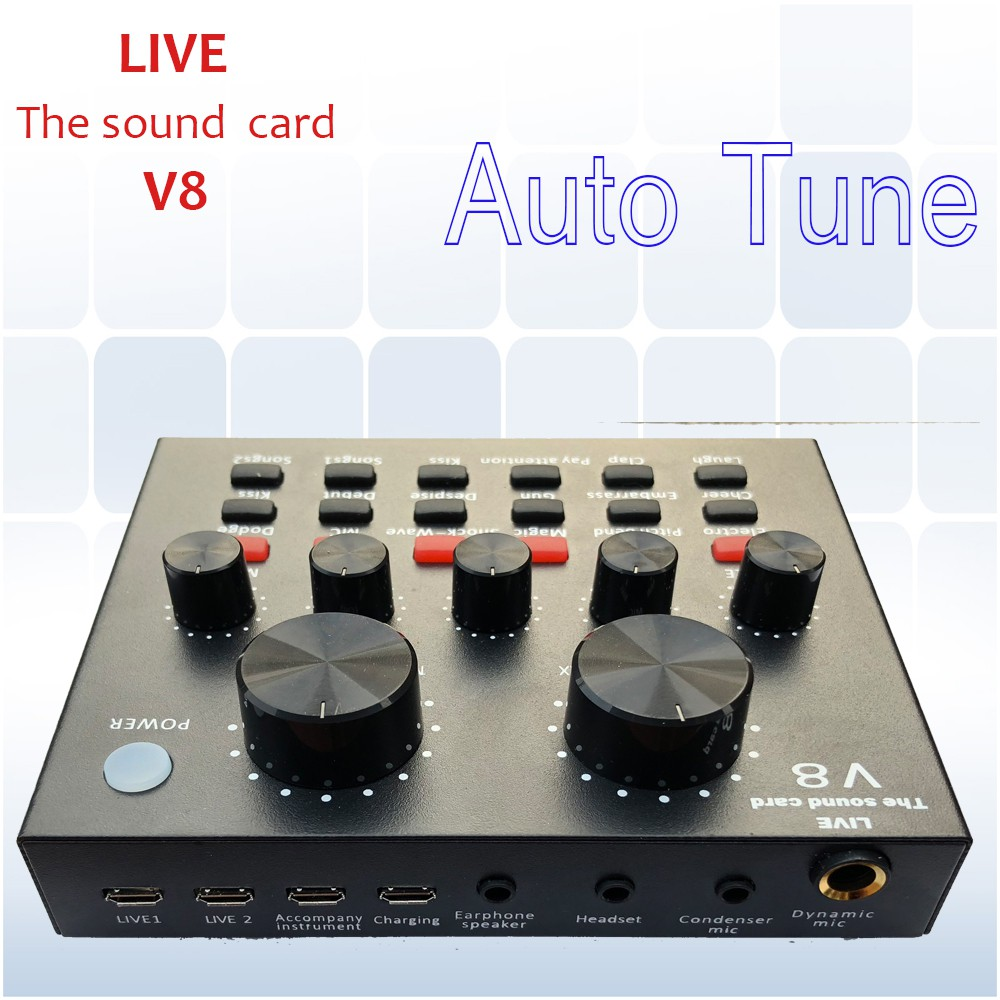Sound card hát live karaoke online V8 Auto tune bản tiếng anh quốc