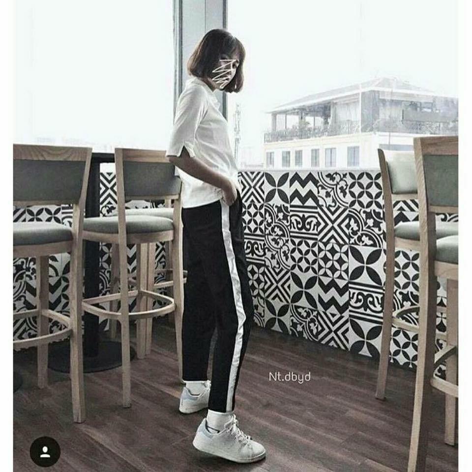 Legging viền trắng kiểu dáng bagy thụng thụng mặc xinh cực .ca tính .phong cách ,trẻ trung