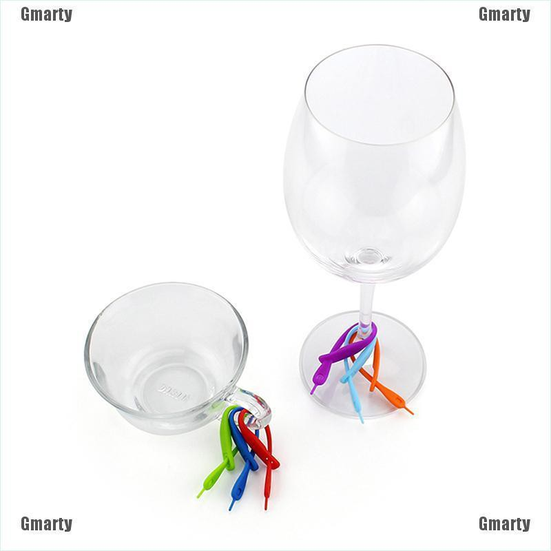 Gmarty 12pcs/Set Silicone Wine Glass Drink Markers Label party Cup Glass Marker