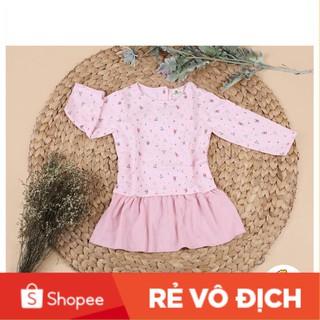 Váy nỉ da cá  phối cotton dài tay họa tiết bé gái size 8-12T, cho bạn từ 23-32kg. Chất nỉ da cá dày dặn
