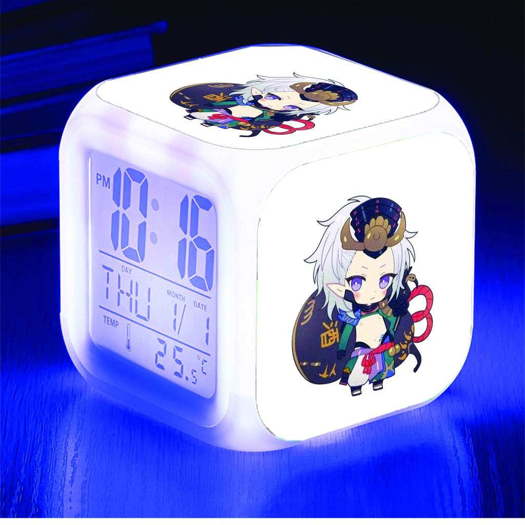 Đồng hồ báo thức để bàn in hình ÂM DƯƠNG SƯ Onmyoji game anime chibi LED đổi màu