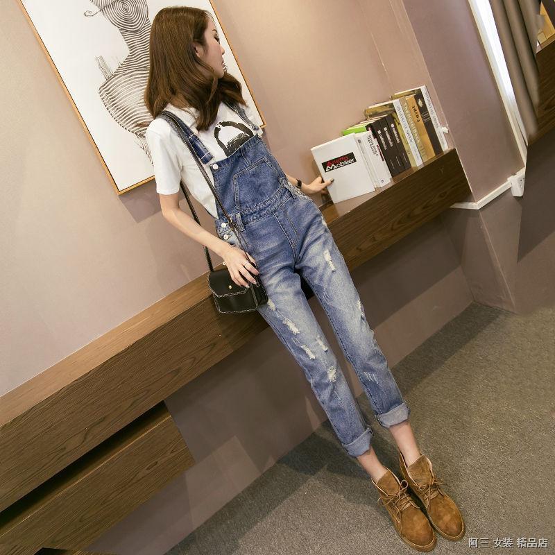 Quần Yếm Jeans Lưng Cao Thời Trang Cho Nữ
