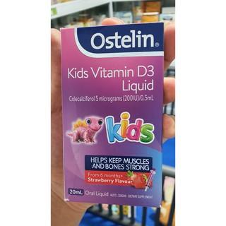 Vitamin D dạng nước cho trẻ Ostelin Kids Liquid 20ml của Úc