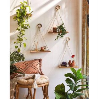 3 kệ gỗ thông treo dây cao cấp NGON DECOR ❤️FREESHIP❤️ Kệ treo dây macramé kệ gỗ trang trí treo tường