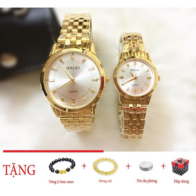Đồng hồ cặp đôi dây thép Halei Gold platium sang trọng
