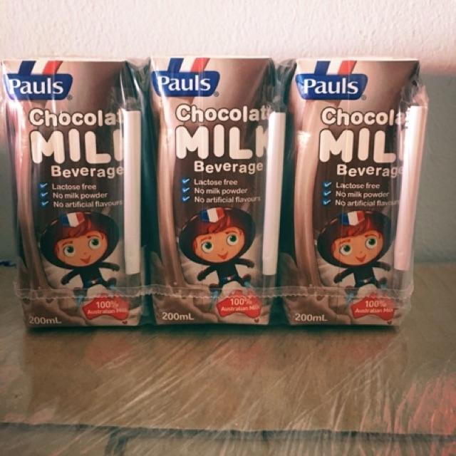 Mix 2 vị dâu, socola sữa tươi Pauls Úc hộp 200ml thùng 24 hộp