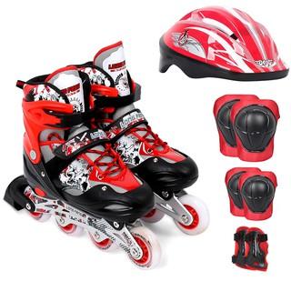 Giày trượt patin Keenstore mẫu LF 906 đèn led bánh trước + mũ và bảo hộ tay chân