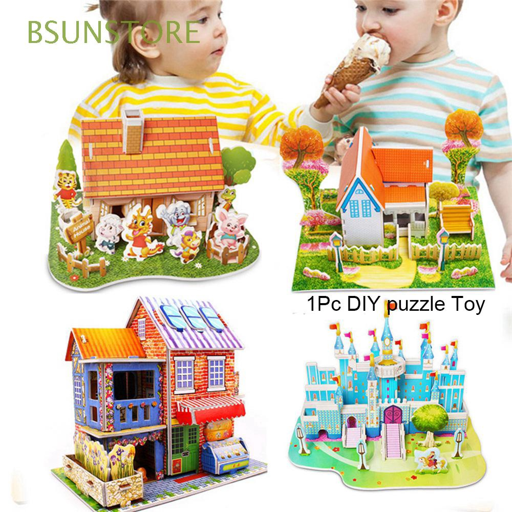 Paper Christmas Construction pattern gift Intelligence Early learning Kids Children 3D DIY Puzzle