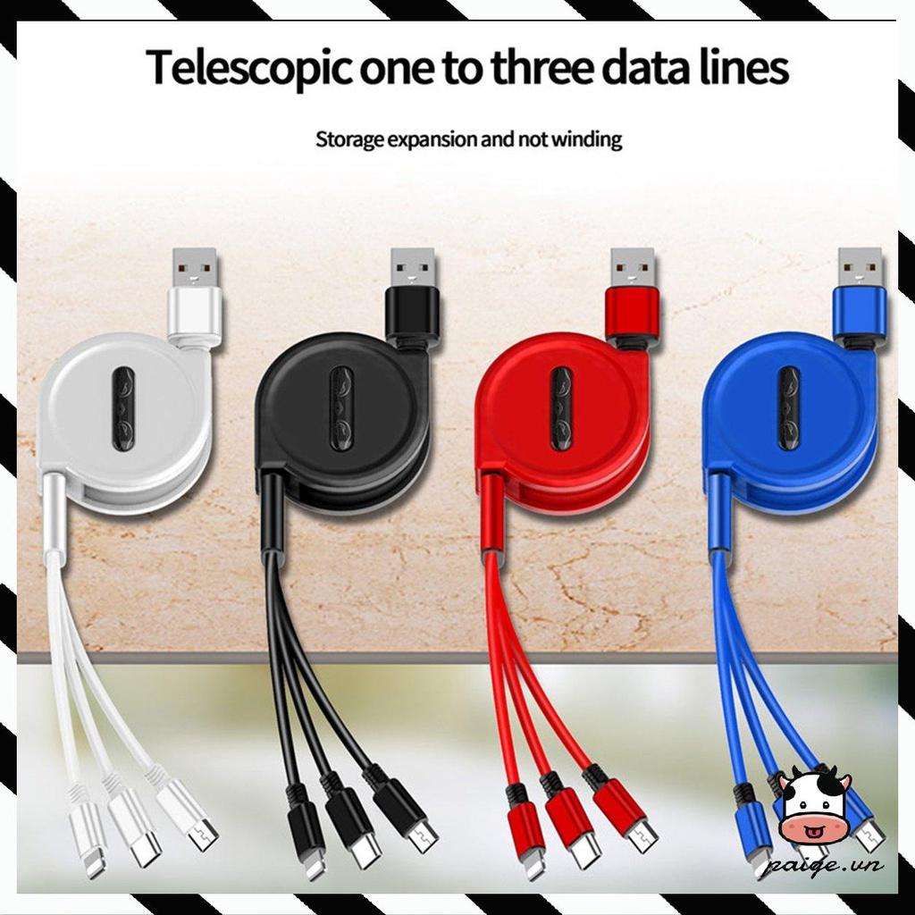 Macaron Cáp 3 trong 1 Data Line cho điện thoại di động Android iphone Type-c Usb đa chức năng Một...