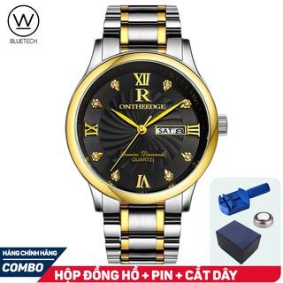 Đồng hồ nam R-Ontheedge Dây Thép Lịch Đôi - Dây Sọc Vàng