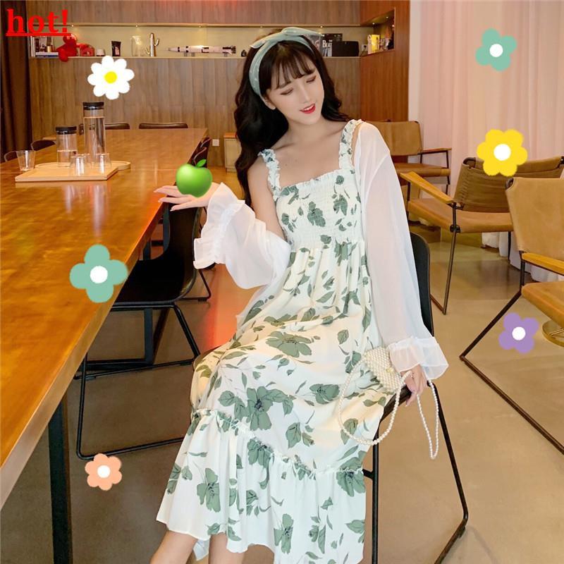 Korean version of the strap dress 2019 new summer small fresh net red skirt wome