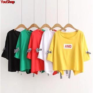 Summer large size short-sleeved t-shirt female 2019 new bandage Han Fan bow ins loose shirt student tide wild