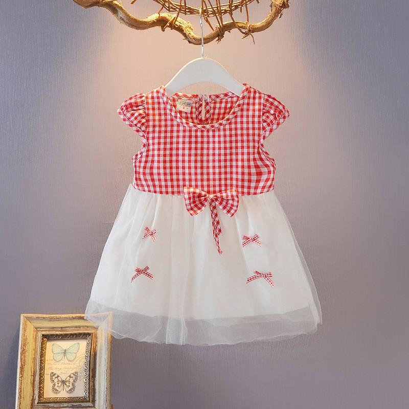 Summer Princess Girls Kids Baby Plaid Bowknot Veil Dress Baby Dinner Dresses