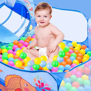 Cartoon 3-in-1 Tent Baby Crawling Tunnel Play House Ocean Ball Pool