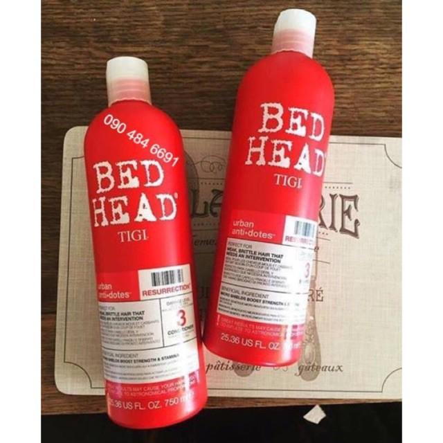Bộ Gội Xả TIGI Haircare Bed Head Rehab For Hair Shampoo And Conditioner 750 Ml (ĐỎ)