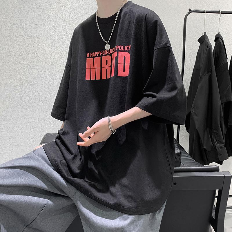 áo nam Tay Ngắn Dáng Rộng Phong Cách Hàn Quốc