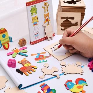 [FreeShip từ 150K] Bộ Khuôn hình cho bé tập vẽ gồm 50 chi tiết hoạt hình,Vở,bút màu, bút chì..