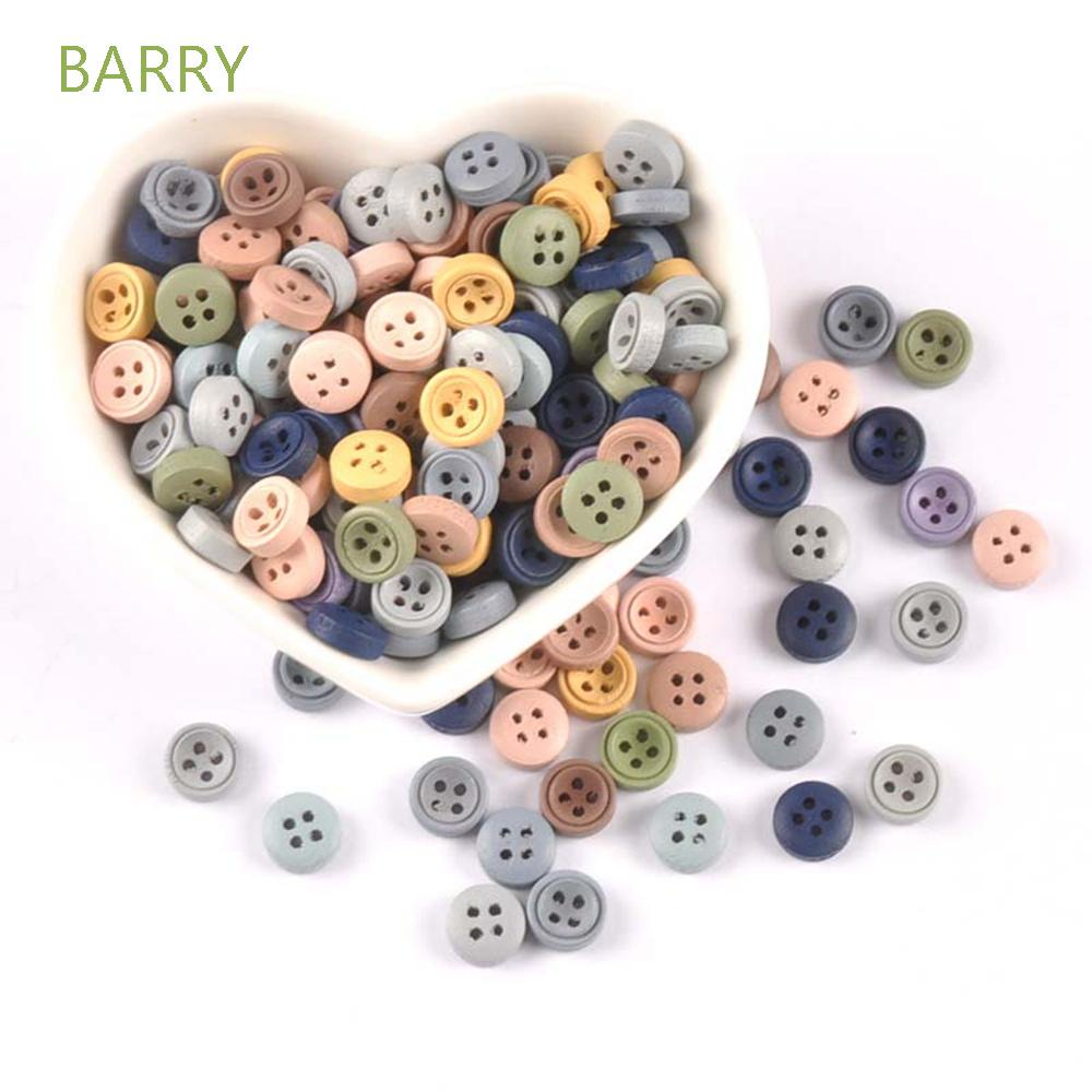 BARRY 9mm Buttons Multicolor Scrapbooking Material Sewing Accessory Wooden Mixed 100pcs Crafts for Clothing Decorative Apparel Sewing