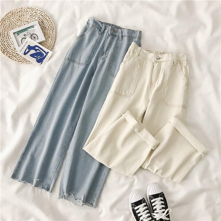 Quần Jeans mỏng ống suông phối lưng chun (9-15 ngày có hàng)