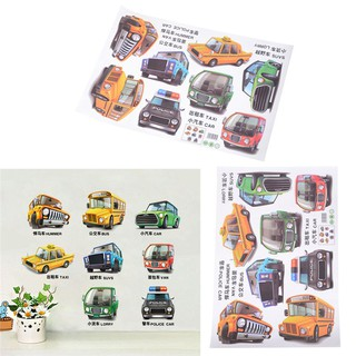 Cartoon Cars Trucks Bus Wall Sticker Kids Boys Bedroom Poster Home Decor